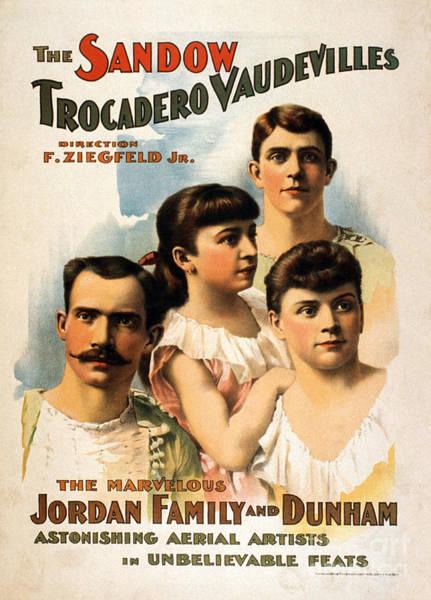 Trapeze Photograph - The Sandow Trocadero Vaudevilles, 1894 by Photo Researchers