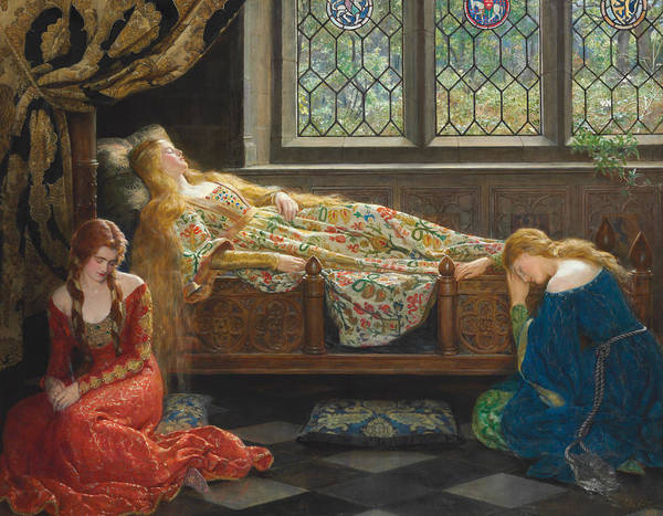 Lady In Waiting Painting - The Sleeping Beauty by John Collier