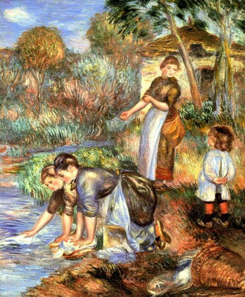 Wall Art - Digital Art - The Washerwoman by Pierre Auguste Renoir