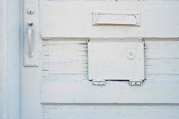 Mail Slot Photograph - The White Door by KM Corcoran