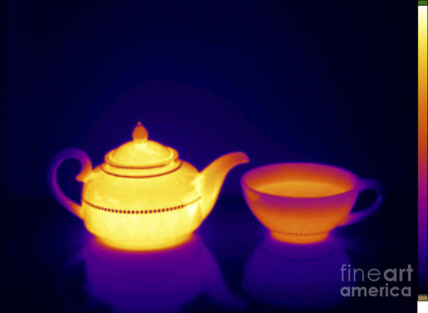 Infrared Radiation Photograph - Thermogram Of Teapot And Teacup by GIPhotoStock