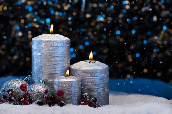 Photograph - Three Silver Candles In Snow  by U Schade