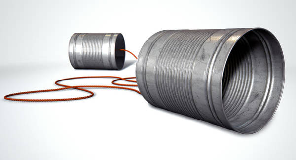 Cable Digital Art - Tin Telephones by Allan Swart
