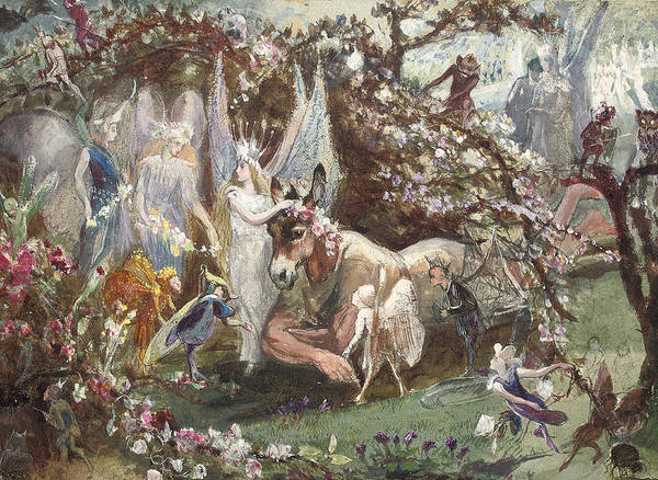 Bottom Painting - Titania And Bottom by John Anster Fitzgerald
