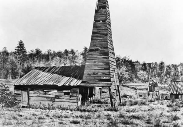 Oil Well Painting - Titusville Oil Well, 1859 by Granger