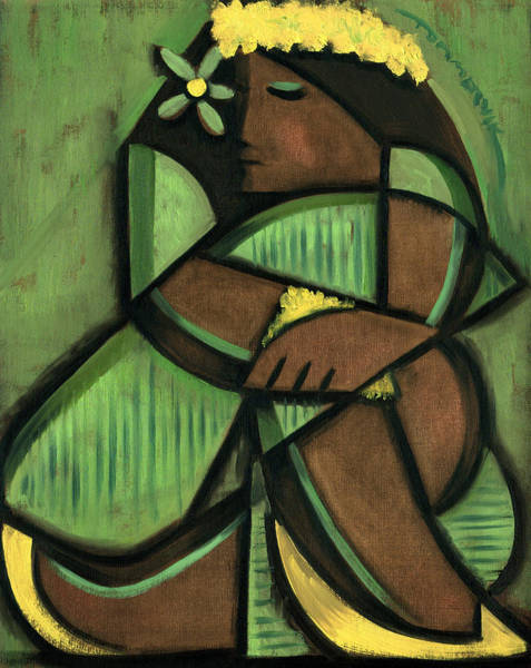 Wall Art - Painting -  Tommervik Cubist Hula Girl Art Print by Tommervik