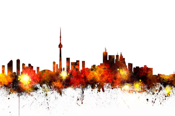 Wall Art - Digital Art - Toronto Canada Skyline by Michael Tompsett