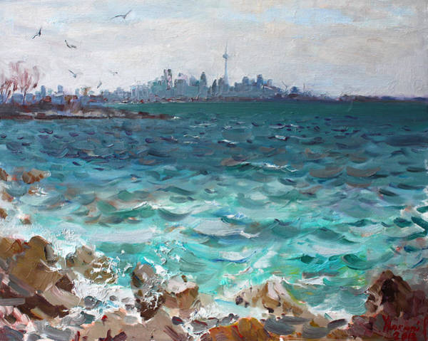 Lake Shore Wall Art - Painting - Toronto Skyline by Ylli Haruni