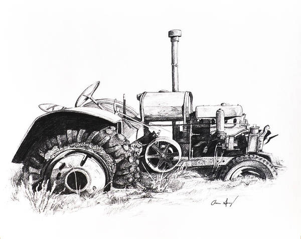 Grass Field Drawing - Tractor by Aaron Spong