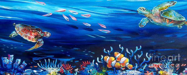 Clownfish Painting - Turtle Reef by Deb Broughton