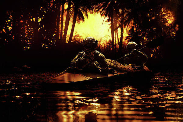 Wall Art - Photograph - Two Special Forces Operators Paddling by Oleg Zabielin