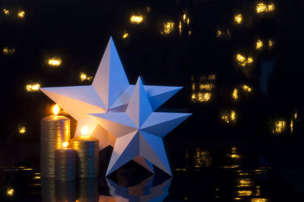 Photograph - Two Stars With Gold Candles by U Schade