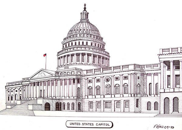 Ink Pen Drawing - United States Capitol by Frederic Kohli