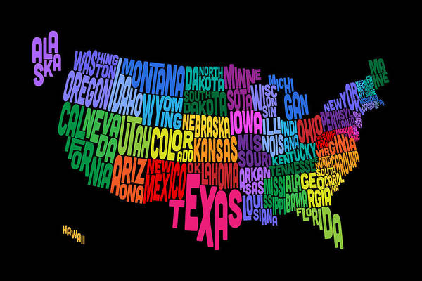 Text Map Digital Art - United States Typography Text Map by Michael Tompsett