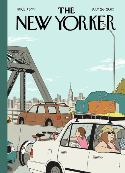 Summer Vacation Painting - New Yorker July 26th, 2010 by Adrian Tomine