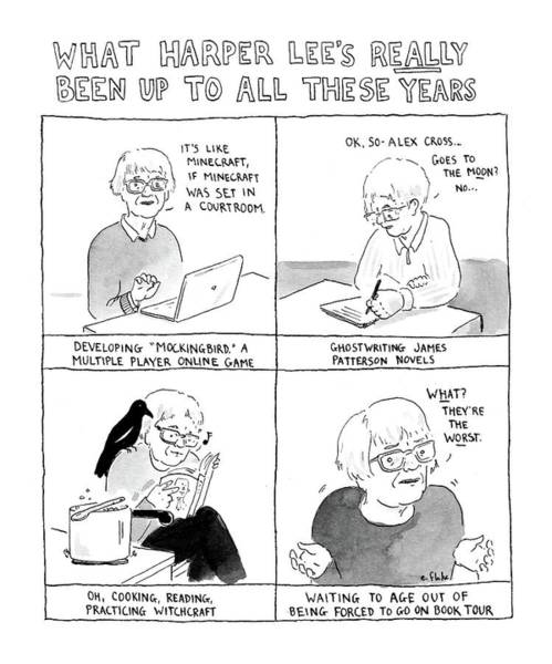 Literature Drawing - What Harper Lee's Really Been Up To All These by Emily Flake