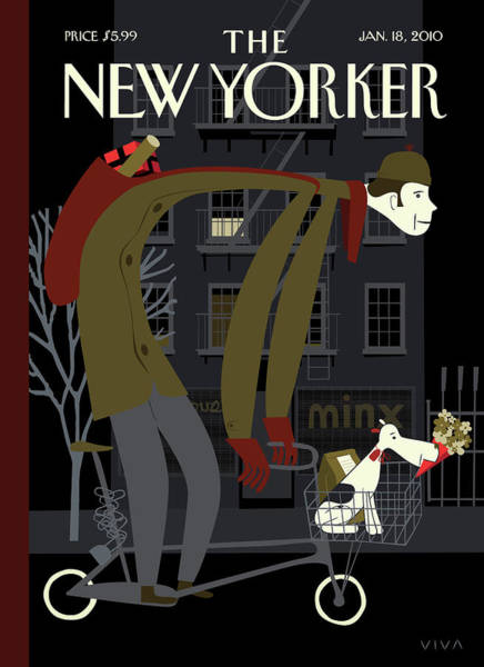 Bicycle Painting - New Yorker January 18th, 2010 by Frank Viva