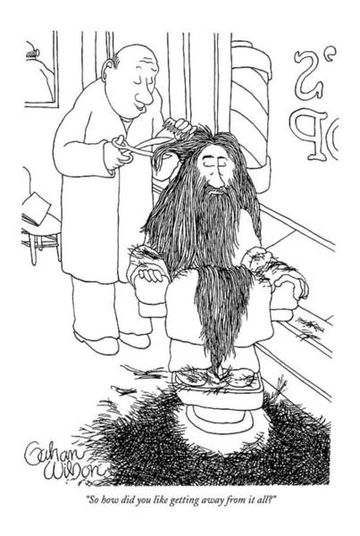 Hermit Drawing - So How Did You Like Getting Away From It All? by Gahan Wilson