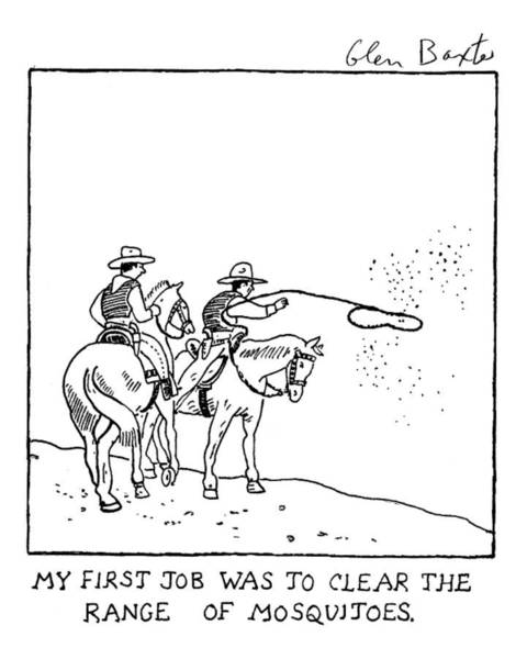 Old West Drawing - New Yorker February 11th, 2008 by Glen Baxter