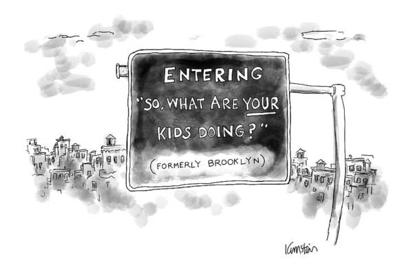 Brooklyn Drawing - New Yorker September 26th, 2016 by Ken Krimstein