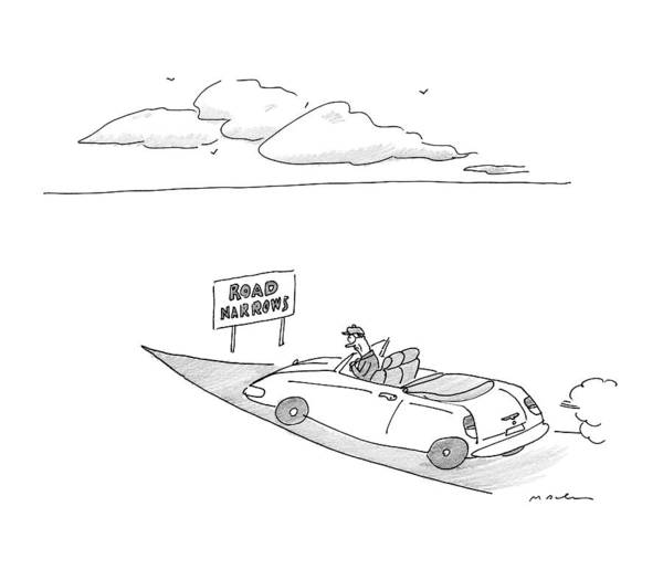 Highway Drawing - New Yorker December 19th, 2016 by Michael Maslin