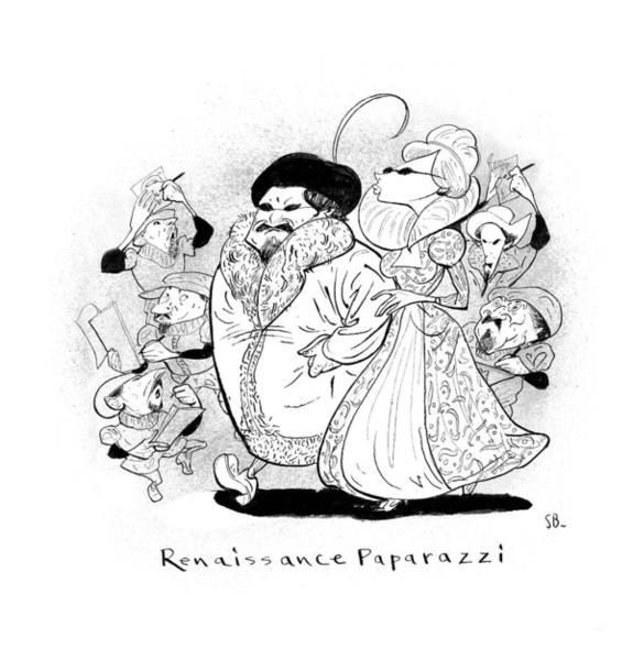 Hollywood Drawing - Captionless; Renaissance Paparazzi by Steve Brodner