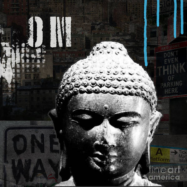 Om Wall Art - Painting - Urban Buddha  by Linda Woods