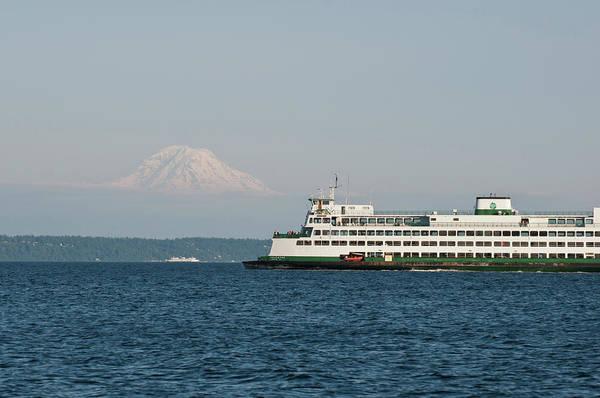 Commute Photograph - Us, Wa, Seattle Volcanic Mt Rainier by Trish Drury