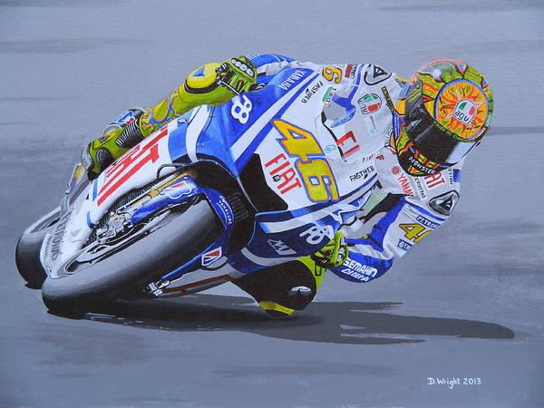 Bike Racing Painting - Valentino Rossi by David Wright