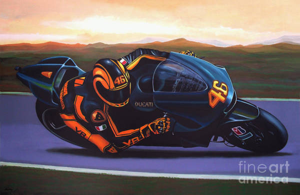 Goat Painting - Valentino Rossi On Ducati by Paul Meijering