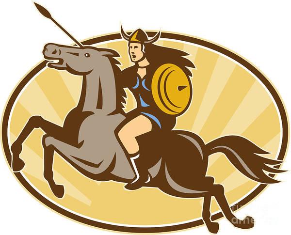 Valkyrie Digital Art - Valkyrie Riding Horse Retro by Aloysius Patrimonio