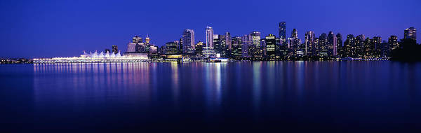 False Creek Wall Art - Photograph - Vancouver Skyline At Night, British by Panoramic Images