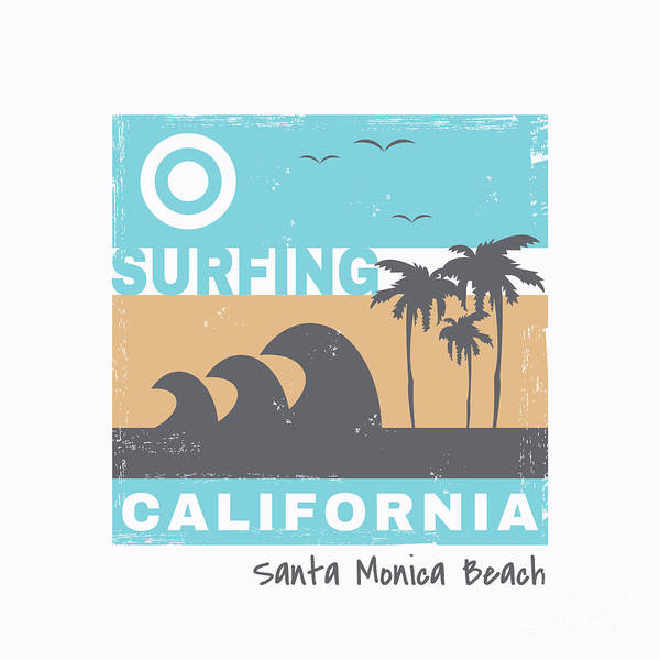 California Beaches Digital Art - Vector Illustration On The Theme Of by Serge Geras