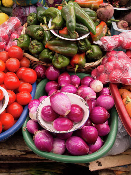 Bell Peppers Photograph - Vegetables For Sale In Market by Panoramic Images