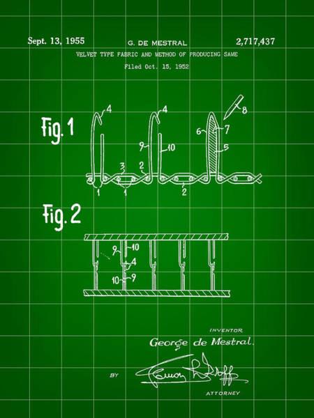 Crochet Digital Art - Velcro Patent 1952 - Green by Stephen Younts