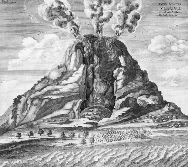 Subterranean Photograph - Vesuvius Erupting by Royal Astronomical Society/science Photo Library