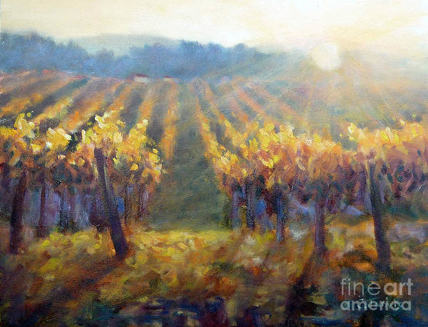 Painting - Vineyard Sunset by Carolyn Jarvis