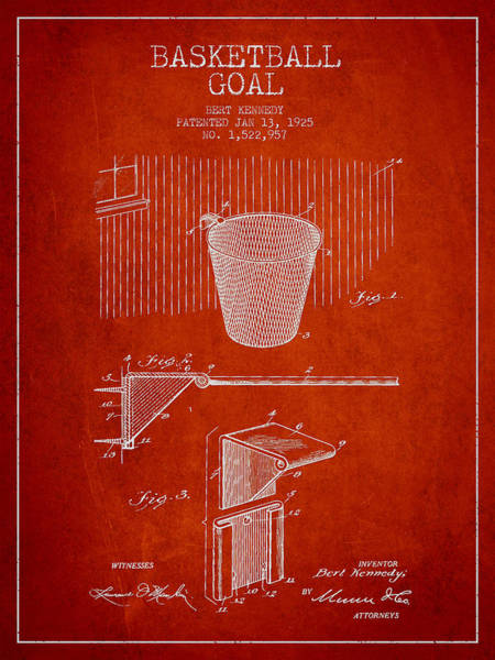 Association Digital Art - Vintage Basketball Goal Patent From 1925 by Aged Pixel