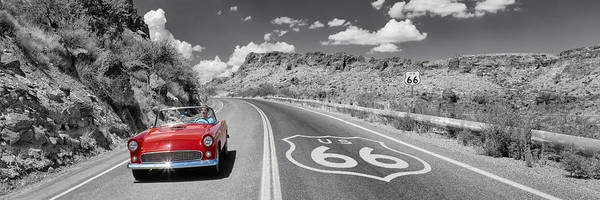 Ford Images Wall Art - Photograph - Vintage Car Moving On The Road, Route by Panoramic Images
