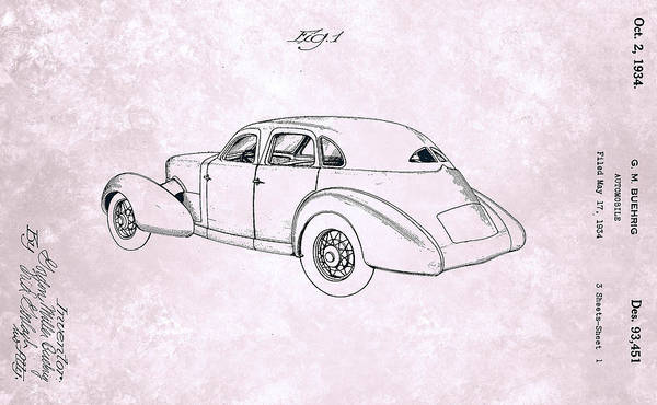 Painting - Vintage Cord Automobile Patent From 1934 by Celestial Images