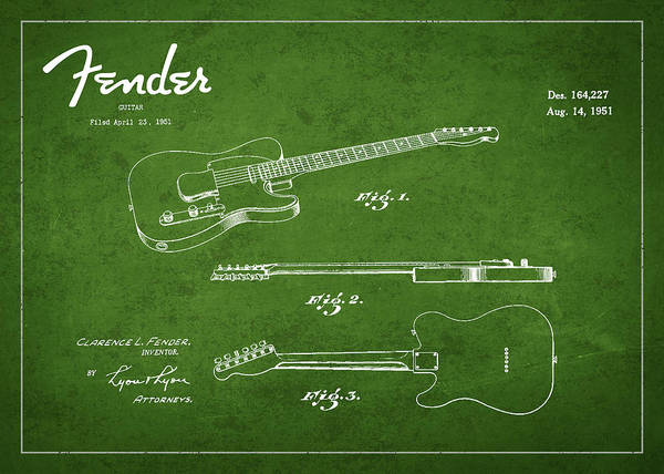 Wall Art - Digital Art - Vintage Fender Guitar Patent Drawing From 1951 by Aged Pixel