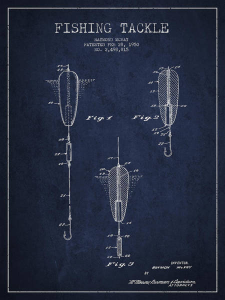 Antique Fishing Lures Wall Art - Digital Art - Vintage Fishing Tackle Patent Drawing From 1950 by Aged Pixel