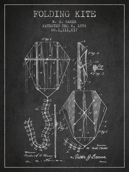 Kite Wall Art - Digital Art - Vintage Folding Kite Patent From 1892 by Aged Pixel