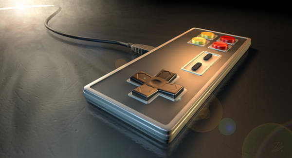 Cable Digital Art - Vintage Gaming Controller by Allan Swart