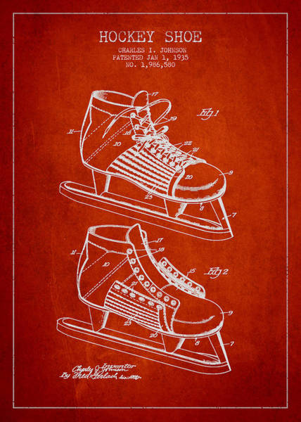 Hockey Sticks Digital Art - Vintage Hockey Shoe Patent Drawing From 1935 by Aged Pixel