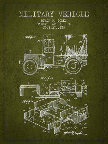 Truck Digital Art - Vintage Military Vehicle Patent From 1942 by Aged Pixel