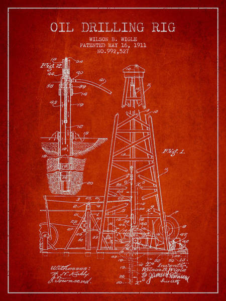 Drilling Rig Wall Art - Digital Art - Vintage Oil Drilling Rig Patent From 1911 by Aged Pixel