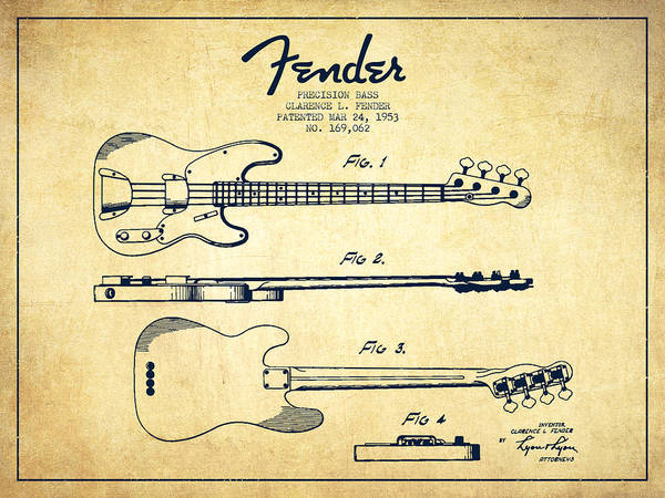 Wall Art - Drawing - Vintage Precision Bass Patent Drawing From 1953 by Aged Pixel