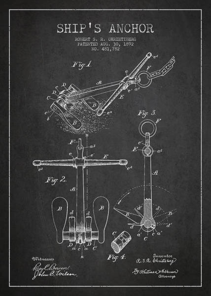 Anchor Digital Art - Vintage Ship Anchor Patent From 1892 by Aged Pixel