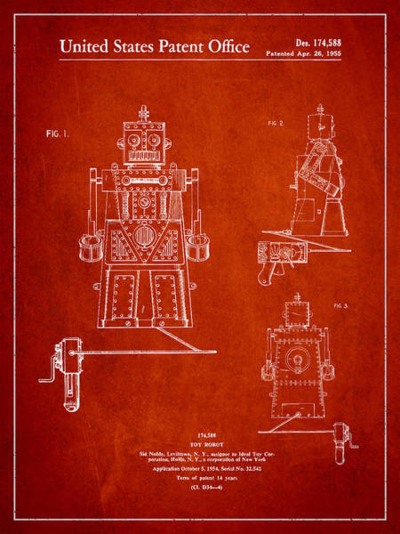 Robot Digital Art - Vintage Toy Robot Patent Drawing From 1955 by Aged Pixel